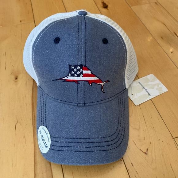 3b988f64c8da67 Tommy Bahama Accessories | Marlin Flag America Mesh Trucker Cap ...